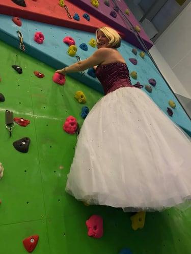 wedding dress trekking challenge
